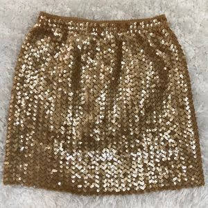 Nanette Lepore M gold sequin stretch mini skirt